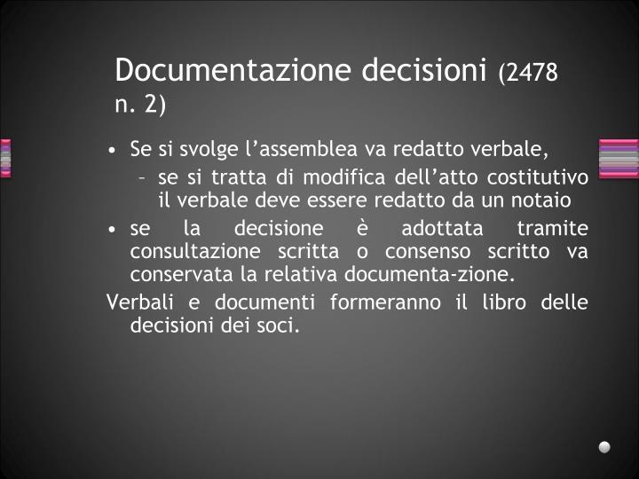 Documentazione decisioni