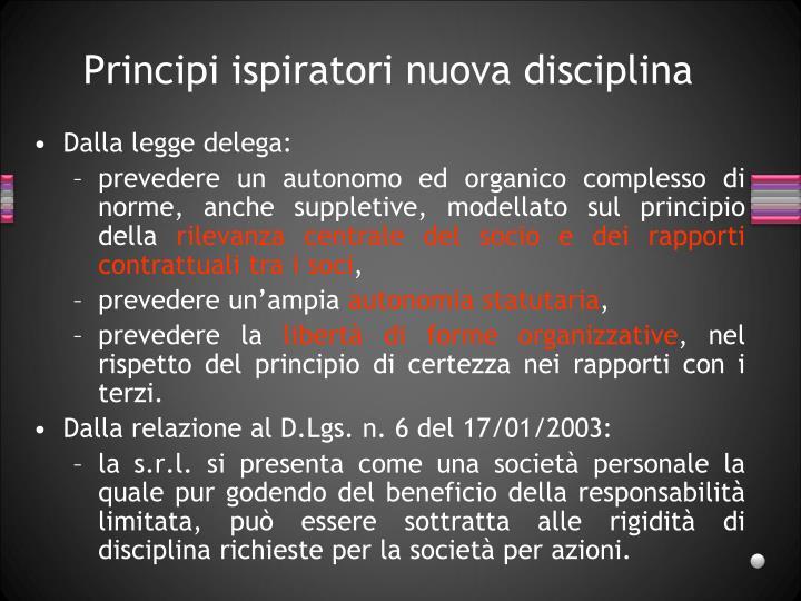 Principi ispiratori nuova disciplina