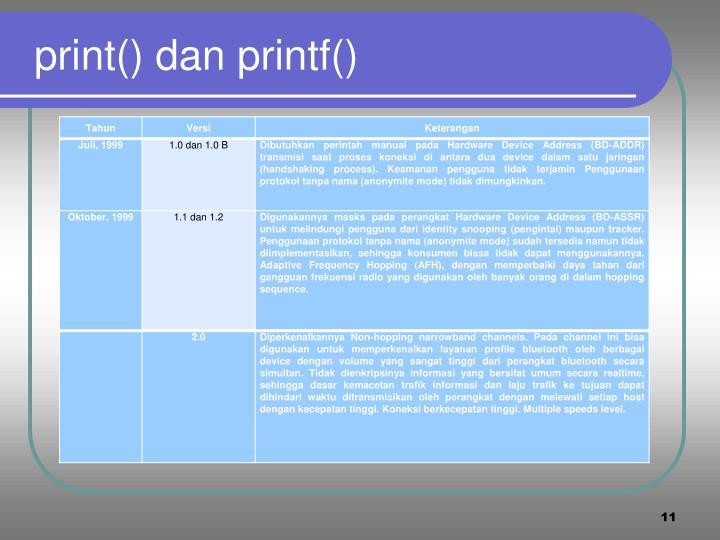 print() dan printf()
