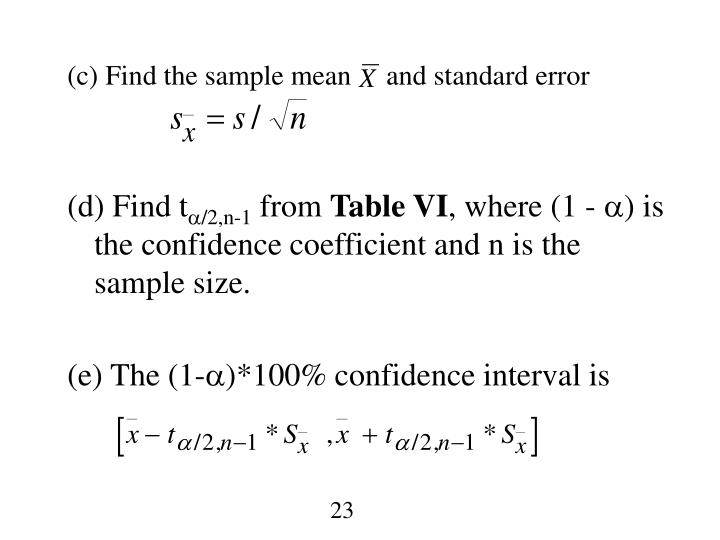 (c) Find the sample mean     and standard error