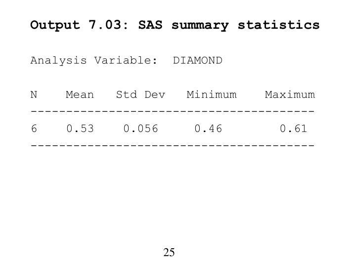 Output 7.03: SAS summary statistics