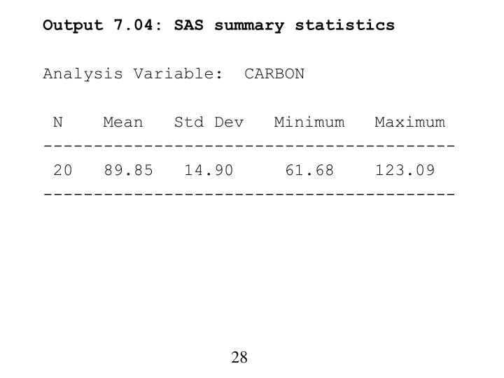 Output 7.04: SAS summary statistics