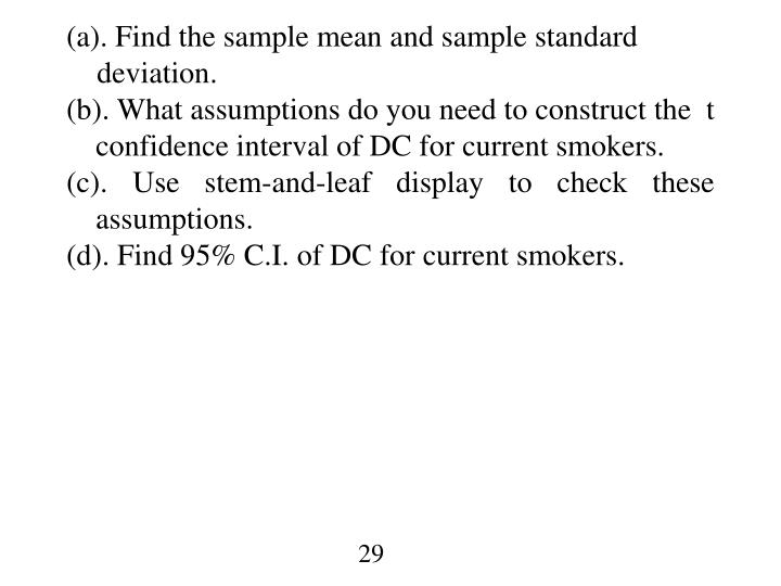 (a). Find the sample mean and sample standard