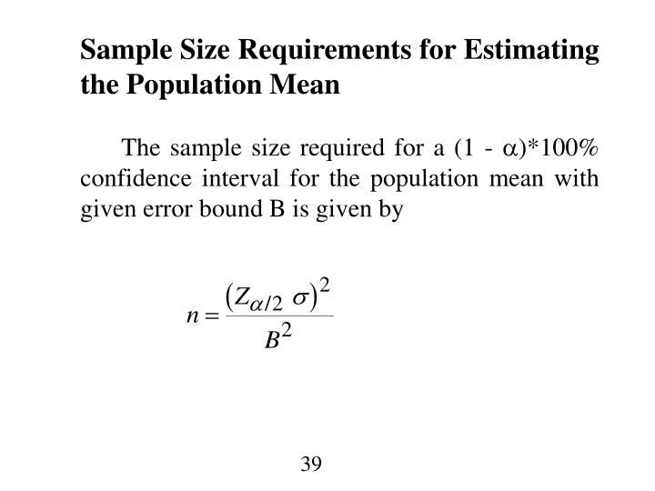 Sample Size Requirements for Estimating the Population Mean