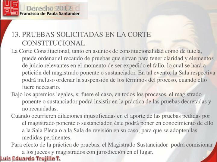 13. PRUEBAS SOLICITADAS EN LA CORTE CONSTITUCIONAL