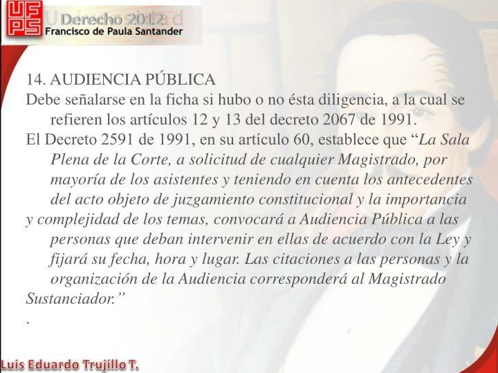 14. AUDIENCIA PÚBLICA