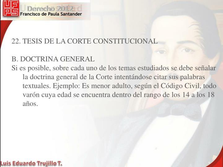 22. TESIS DE LA CORTE CONSTITUCIONAL
