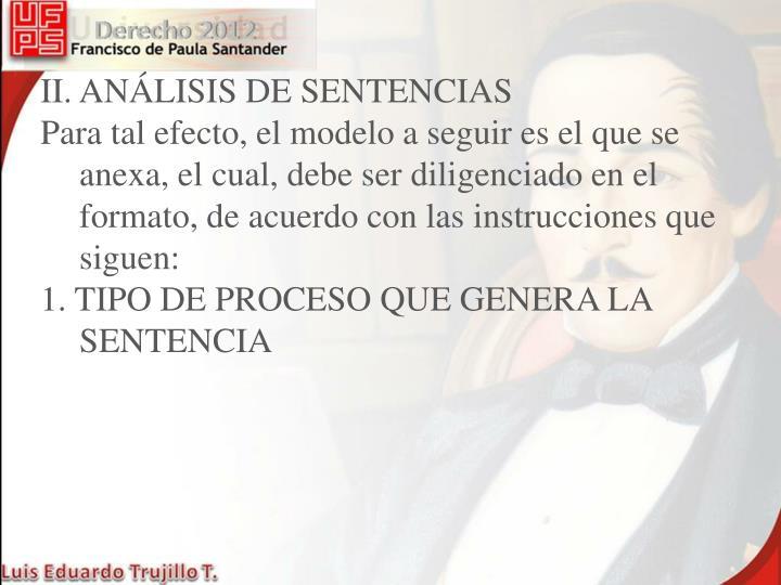II. ANÁLISIS DE SENTENCIAS