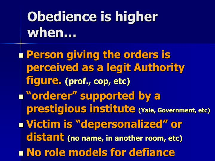 Obedience is higher when…
