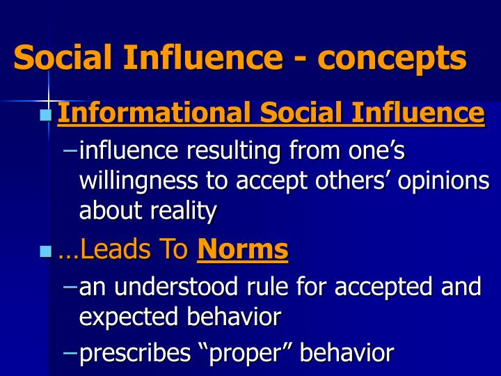 Social Influence - concepts