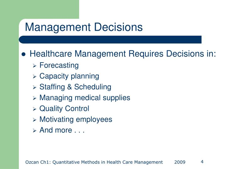 Management Decisions