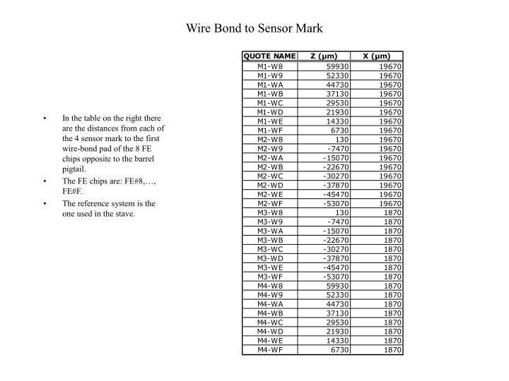 Wire Bond to Sensor Mark