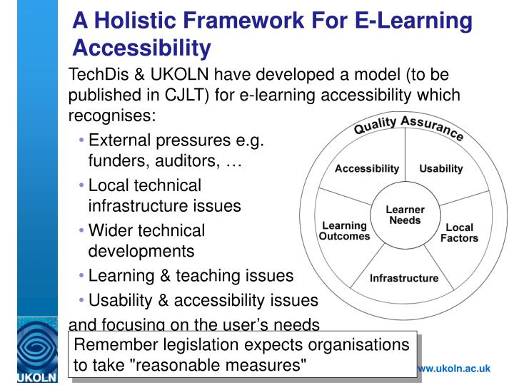 A Holistic Framework For E-Learning Accessibility