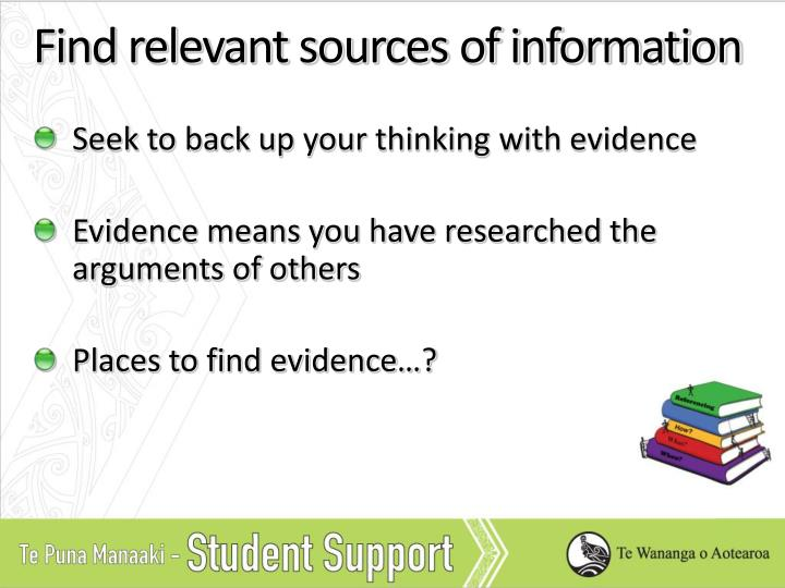 Find relevant sources of information
