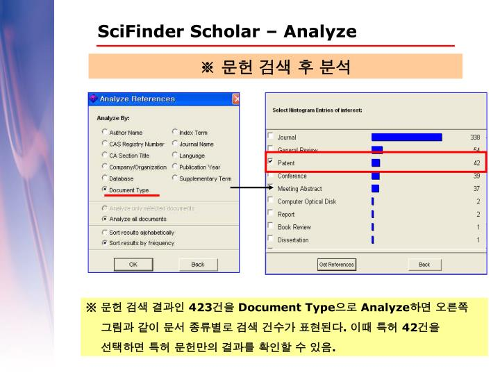 SciFinder Scholar – Analyze