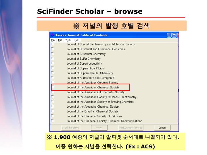 SciFinder Scholar – browse