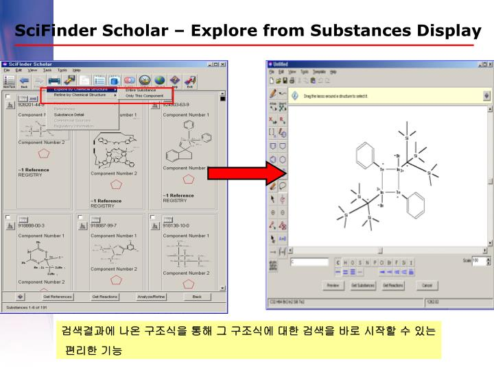 SciFinder Scholar – Explore from Substances Display