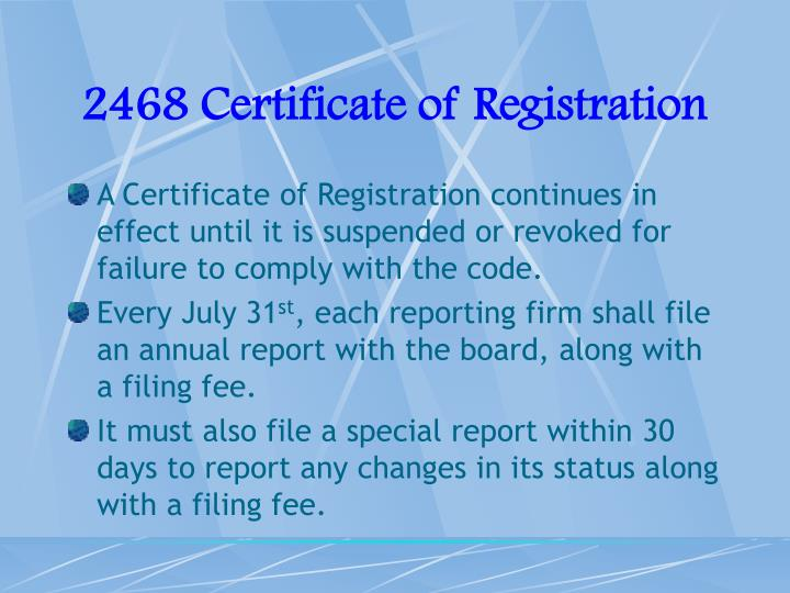 2468 Certificate of Registration