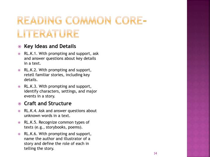 Reading COMMON CORE- LITERATURE