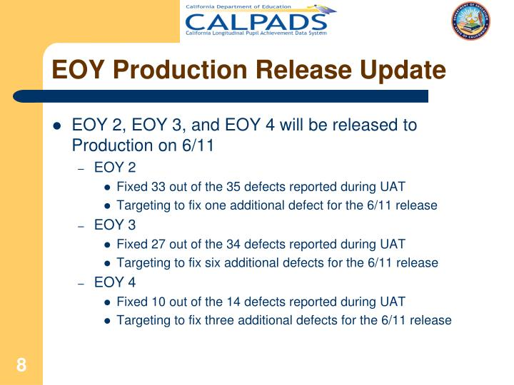 EOY Production Release Update