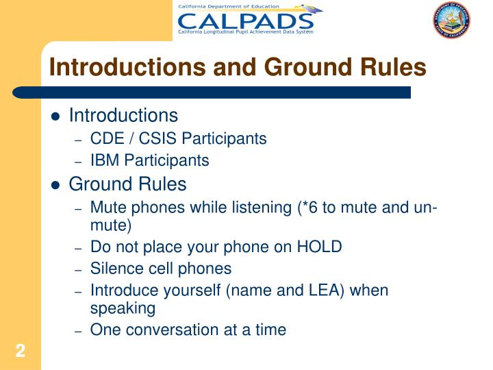 Introductions and Ground Rules