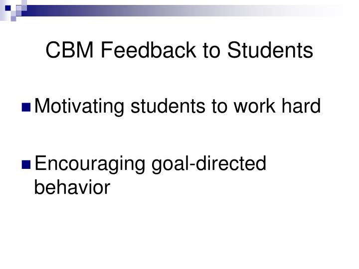 CBM Feedback to Students