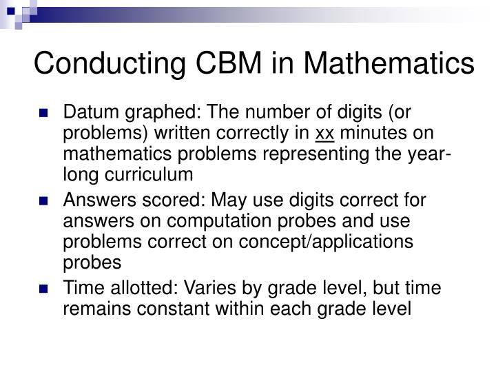 Conducting CBM in Mathematics