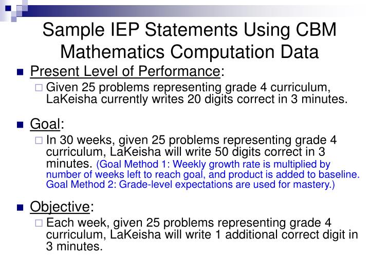 Sample IEP Statements Using CBM Mathematics Computation Data