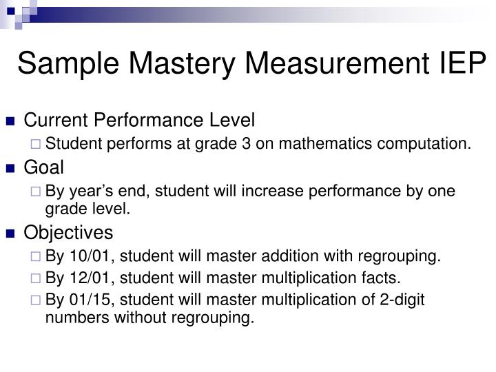 Sample Mastery Measurement IEP