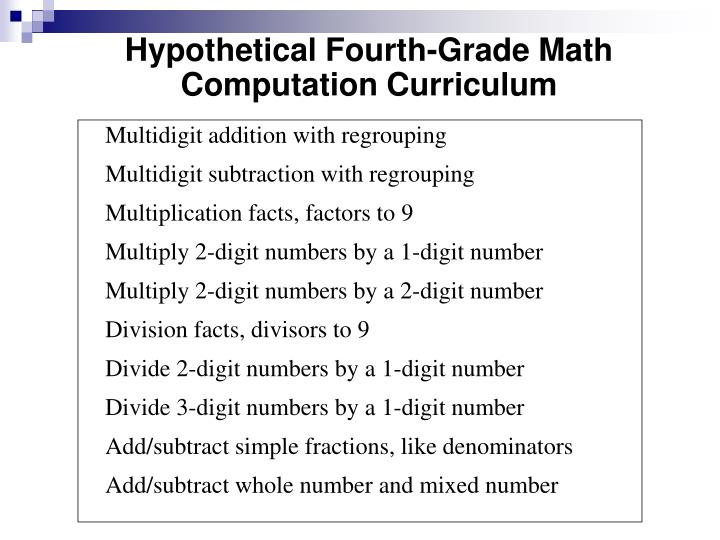 Hypothetical Fourth-Grade Math