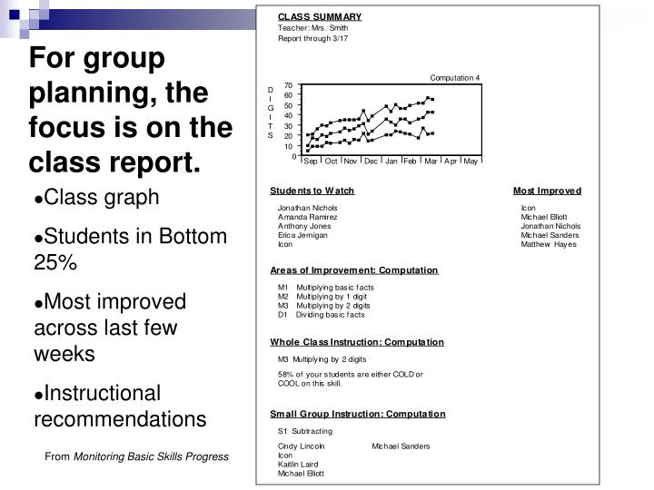 For group planning, the focus is on the class report.