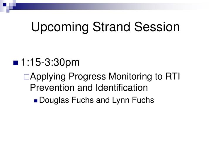 Upcoming Strand Session