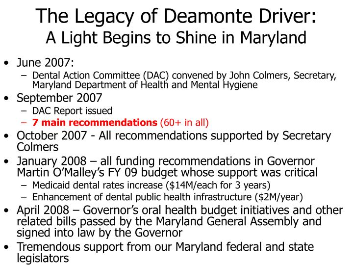 The Legacy of Deamonte Driver: