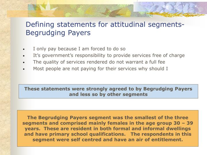 Defining statements for attitudinal segments- Begrudging Payers