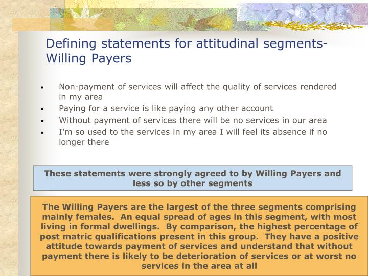 Defining statements for attitudinal segments- Willing Payers