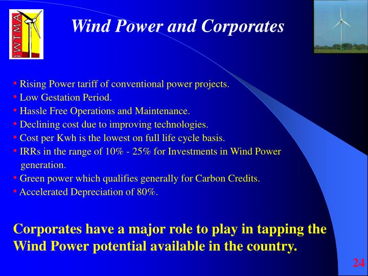 Wind Power and Corporates