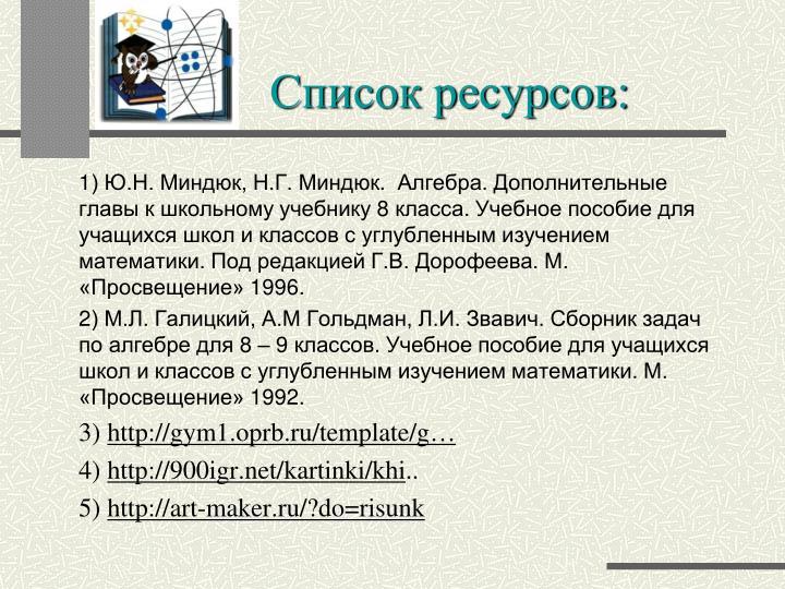 Список ресурсов: