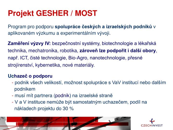 Projekt GESHER / MOST