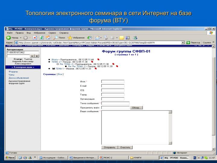 Топология электронного семинара в сети Интернет на базе форума (ВТУ)