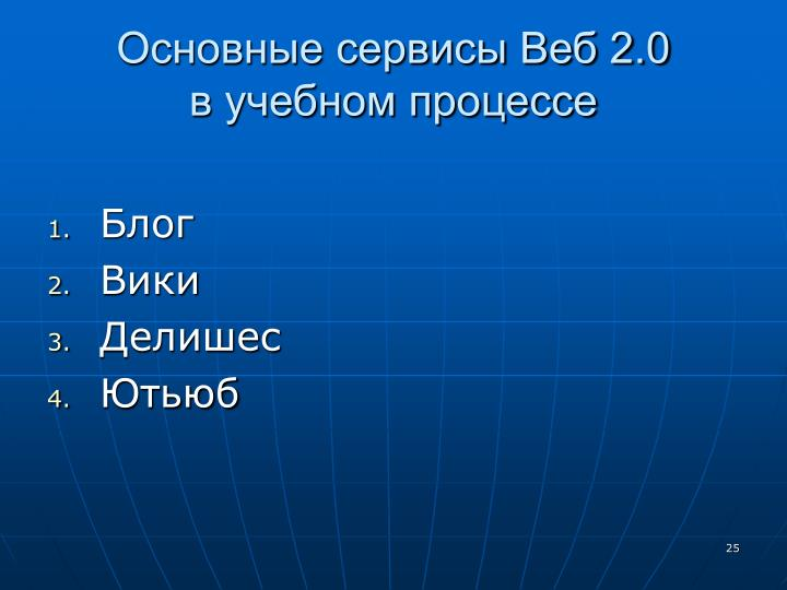 Основные сервисы Веб 2.0