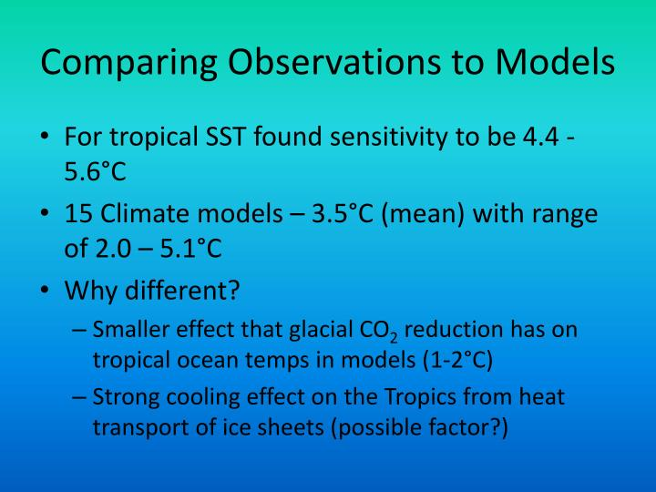 Comparing Observations to Models