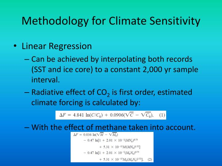Methodology for Climate Sensitivity