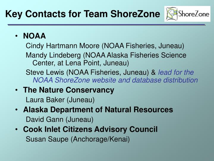 Key Contacts for Team ShoreZone