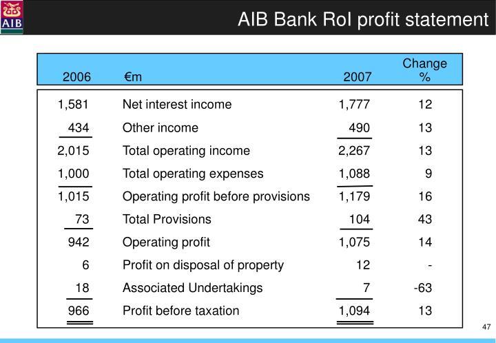 AIB Bank RoI profit statement