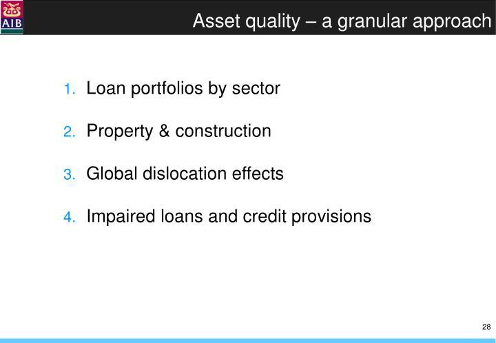 Asset quality – a granular approach