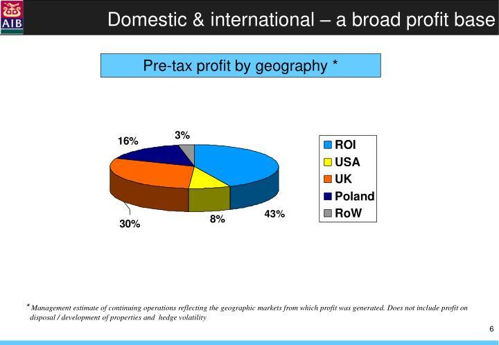 Domestic & international – a broad profit base