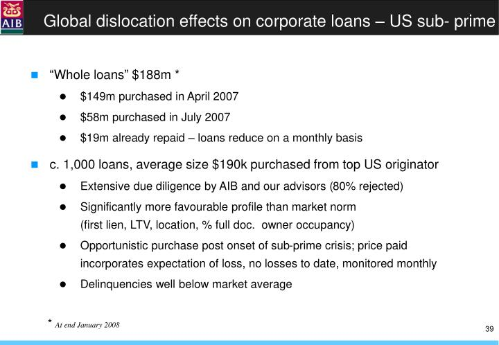 Global dislocation effects on corporate loans – US sub- prime
