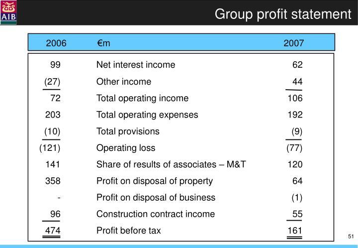 Group profit statement