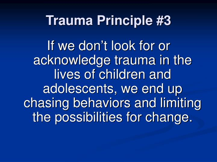 Trauma Principle #3