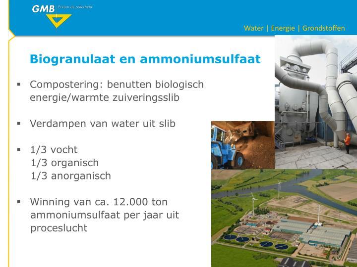Biogranulaat en ammoniumsulfaat
